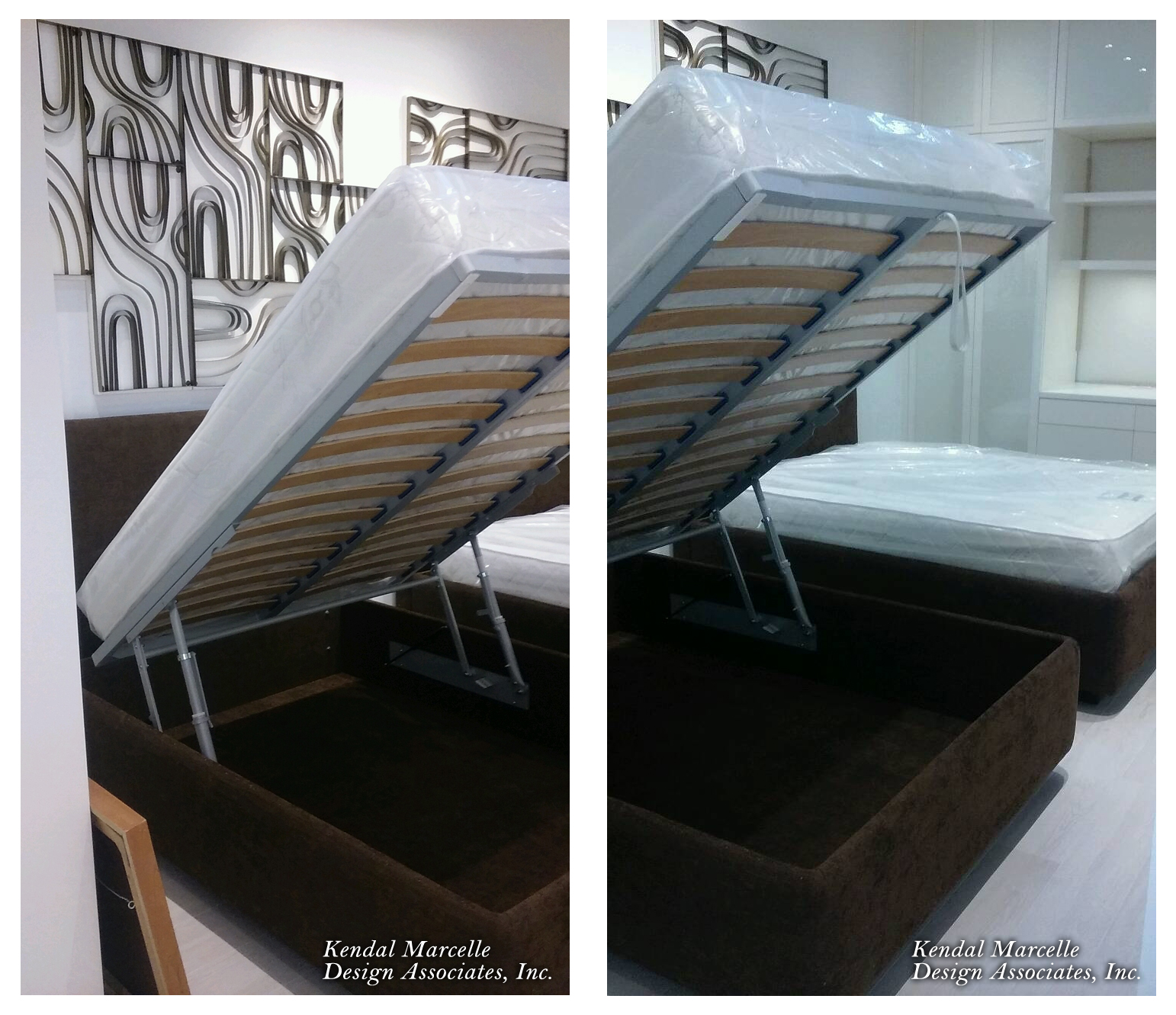 "Image of a custom full size 7"" supreme foam mattress installed on a bed frame with custom mechanism for below storage."