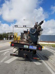 Image of Zeno Mattress moving day heavy machinery in transit.